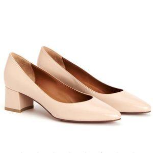 Aquatalia Phoebe Nappa Leather Black Heel Pumps